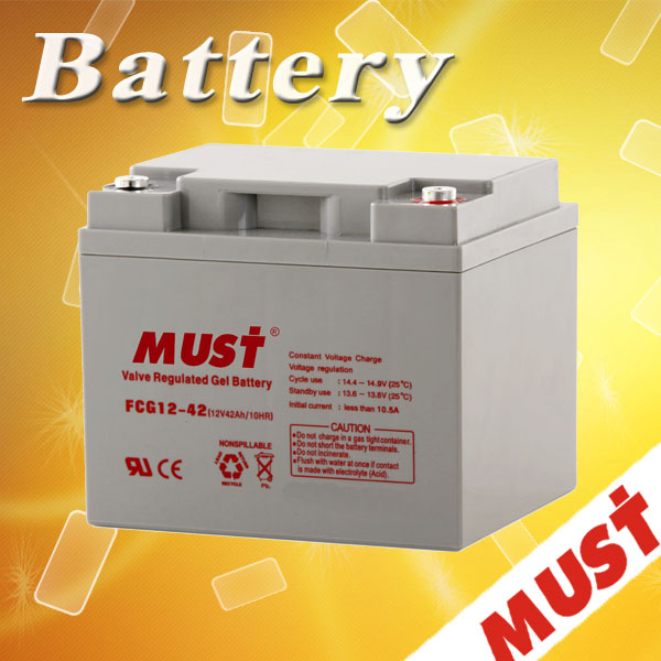 Must Brand 2015 Hot Selling 12v 42ah solar battery 12v gel nife battery factory price