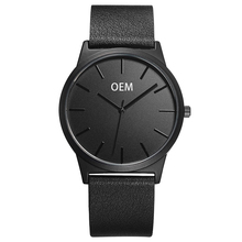 Custom Men Watch Big Black Genuine Leather Japan Movement Wristwatch Design Your Own Watch Custom Watch Face