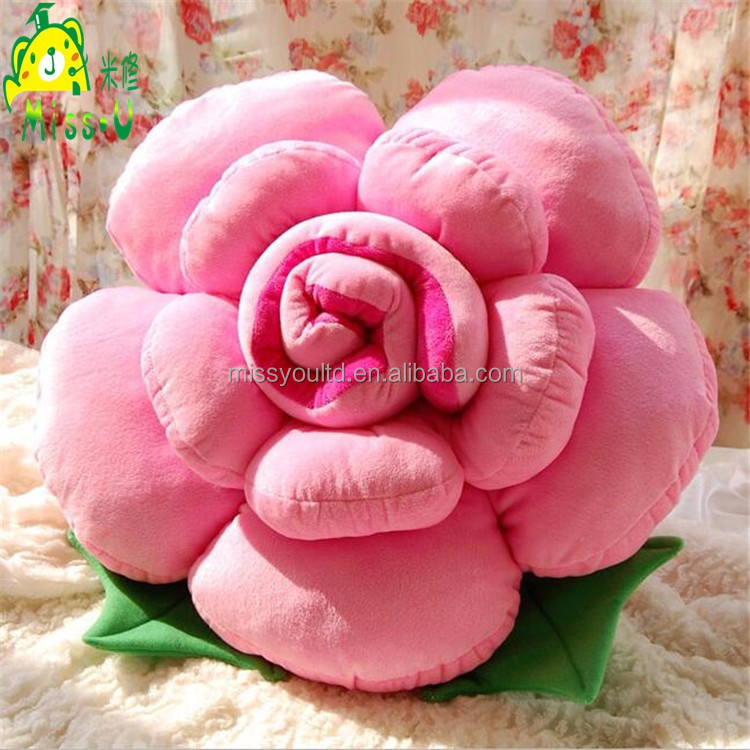 Valentine's Day Gift Lovely Colorful Soft Plush Stuffed Pink Rose Flower