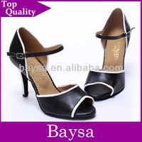 Women Leather top quality small open toe line dance shoes BL683