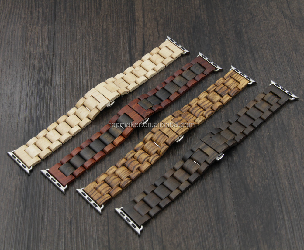2016 New Professional Wooden Apple Watch Band iwatch strap chain 42mm 38mm accessories