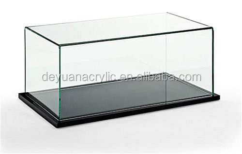 Acrylic pedestal display case with black wooden base
