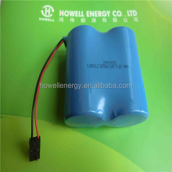 High energy battery LiSOCl2 7.2v 14Ah 2S1P ER34615M 14000mah primary lithium battery