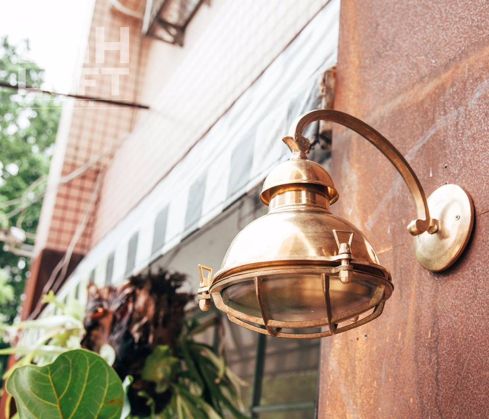 Outdoor building glass lampshade ip64 retro interior corridor decorative indoor sconce wall light