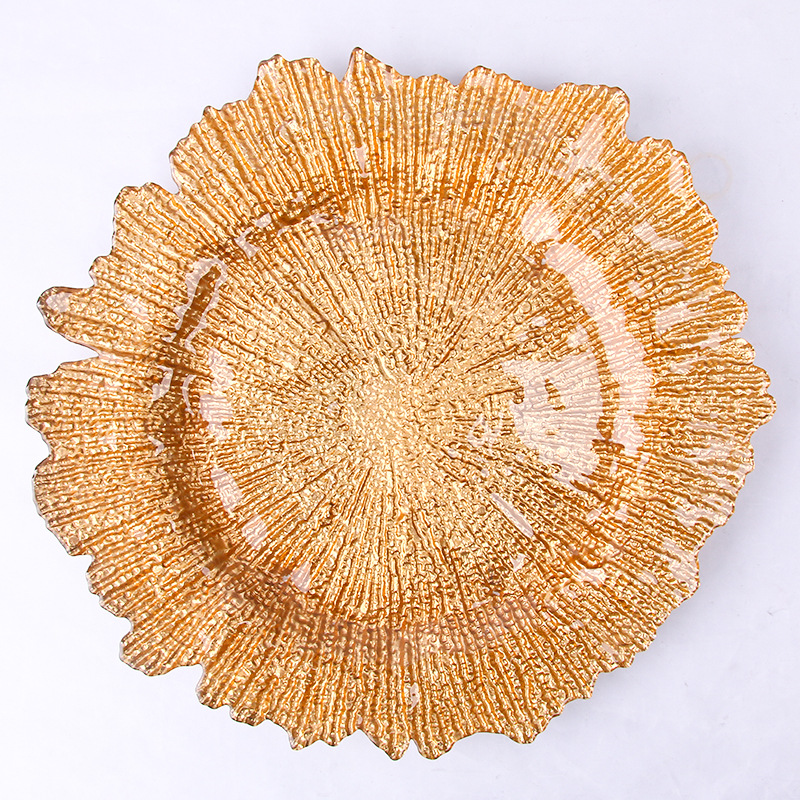 Elegant Gold Reef Glass Charger <strong>Plates</strong> Wholesale