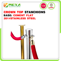 Crown Top Red Velvet Rope Railing Stanchions Safety Stainless Steel Stand Expandable Barrier