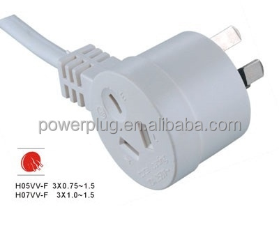 10A 250V 3 flat pins plug with Australia piggyback extension cord
