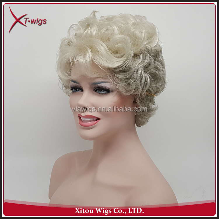 Cheap No Tangle No Shed Short Outre Grey Curly Hair Wigs