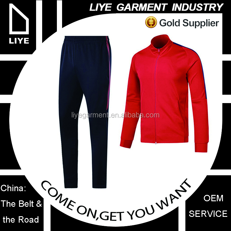 OEM service high quality Winter latest design fleece soccer tracksuit for men