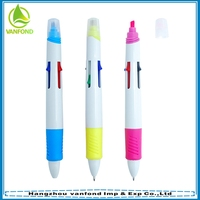 China office stationery 4 in 1 multi-color plastic ball pen with highlighter marker