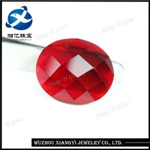 Large glass gems19x22mm oval shape flat bottom checkerboard cut crystal stone price/ ruby stone