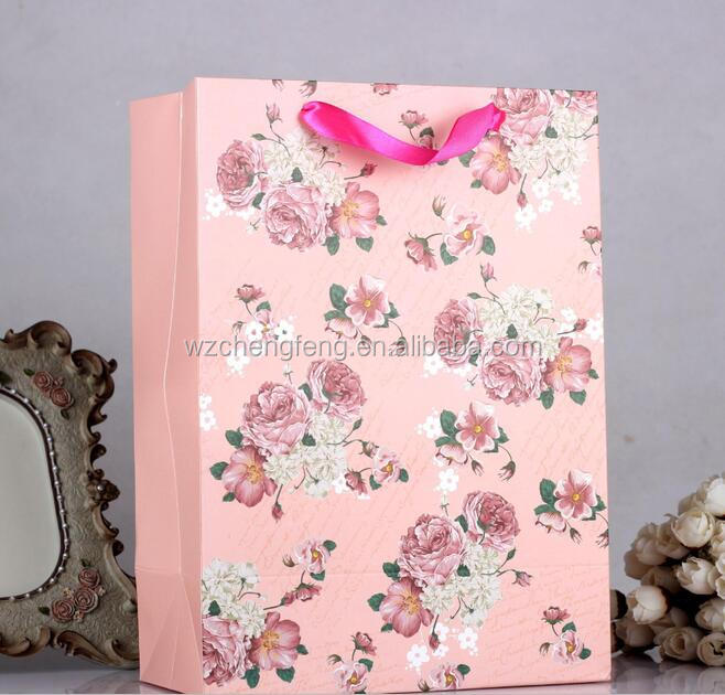 flower printed shopping paper bag wedding gift bag
