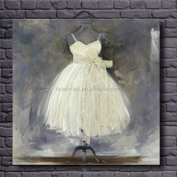Hand Beautiful White Dress Design Oil Painting on Canvas