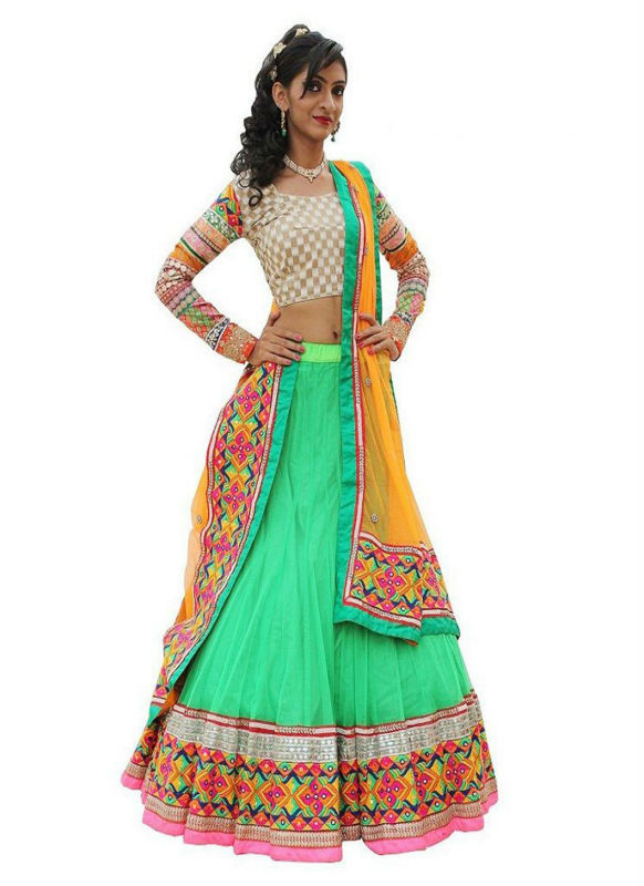 Captivating Sea Green Net Festival Lehenga