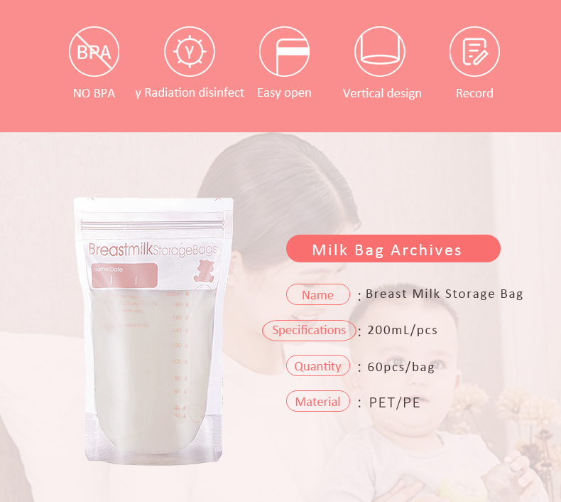 Promotional Prevent Leakage Breast Milk Bag Storage