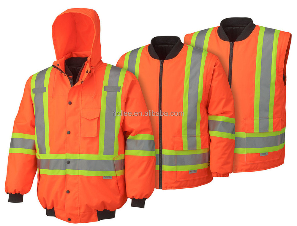 ANSI Class 3 hi-vis winter safety reflective jacket parka