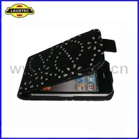 Slim Leather Case,Bling Diamond Leather Flip Cover Case for Apple Iphone 4 4S