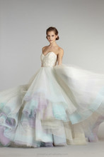 2015 New Arrivals Sweetheart Beaded Bridal Ball Gowns Low Back Lace up Organza Rainbo Wedding Dresses