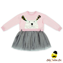Fancy Kids Clothing Lovely Rabbit Applique Long Sleeve Tutu Skirt One Piece Model Design Fall Winter Baby Girl Puffy Tulle Dress