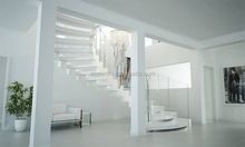 special design luxury curved outdoor stairs prefab with oak wood tread