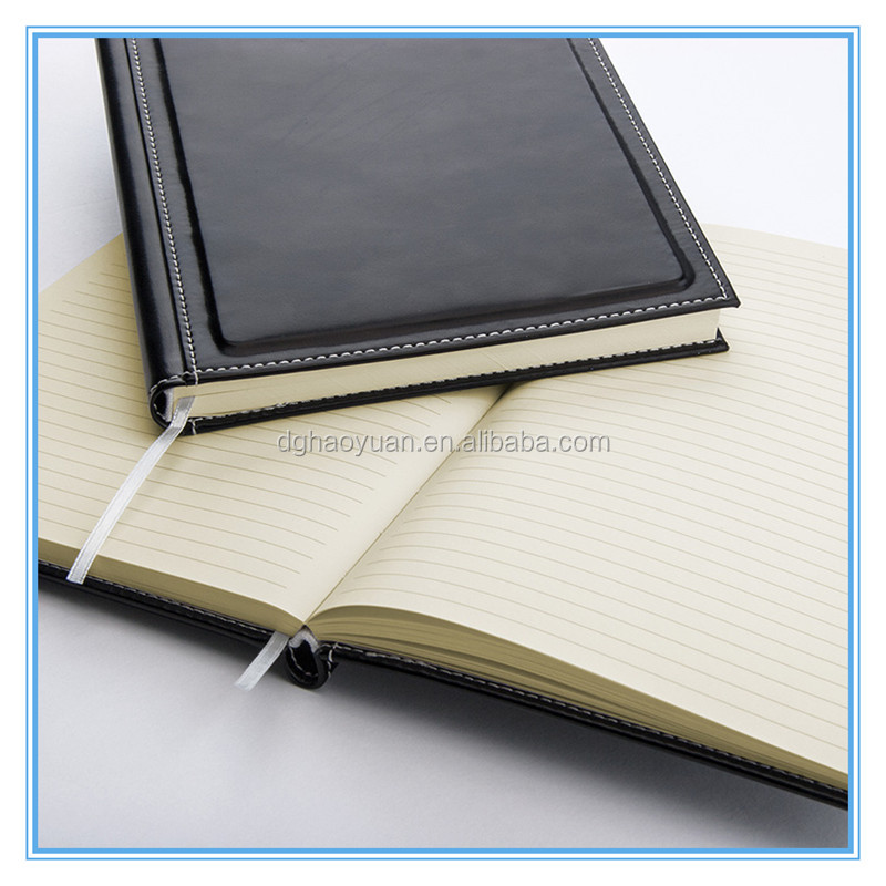 black color round corner leather notebook,PU leather hardcover book,paper note book