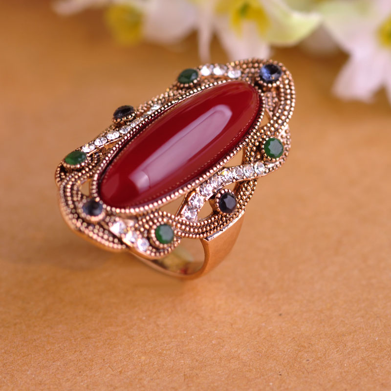 High Quality Royal Design Wholesale Turkish Red Finger Jewelry Fashion Anti Gold Resin Crystal Gem Metal Ring