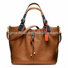 Fancy brand ladies shoulder female tan celebrity shopping oversized plain leather vintage tote bag EC9095