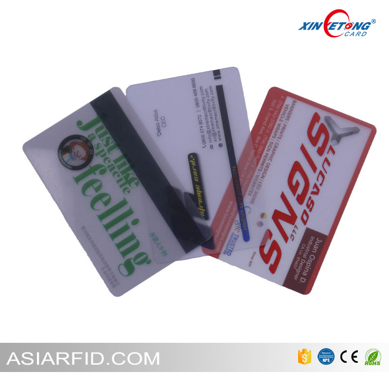 Factory custom NFC N-tag215 chip business PVC card transparent