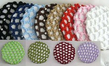 BT00013 Women Dot Satin Flower Bun Cover Snood Hair Net Slumber Sleep Ballet Dance Skating Crochet Decor