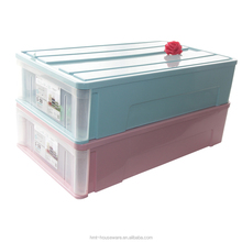 pp wholesale household 59L rectangular plastic under bed storage box with drawer for sundries