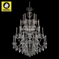 Large elegant 32 lights Pewter finished Metal crystal chandelier lighting