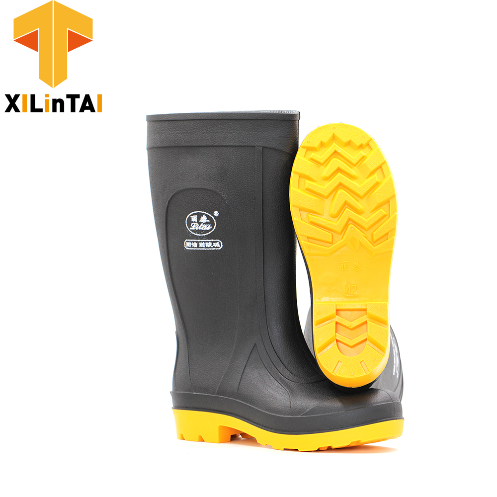 Black safety work boot shoes for man