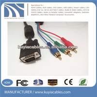 15Pin VGA To 3RCA Cable/HD15P cable/computer cable, vga male to 3 rca male cable