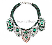 2014 wholesale hot design glass crystal pendants stretch double rope choker necklace