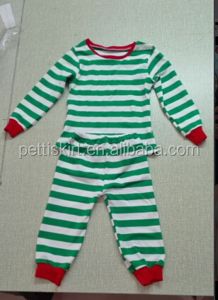 Blue and White Stripes Children Pajamas Wholesale Kids Christmas Outfits