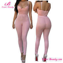 Lover-beauty pink strap bodycon evening sexy jumpsuits for women 2016