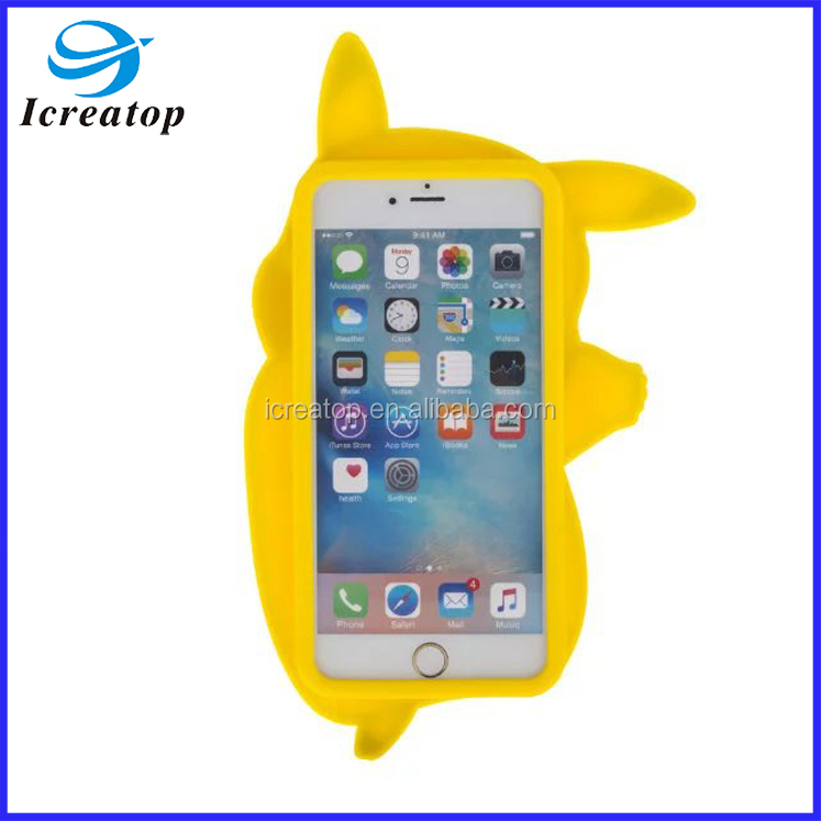 New Silicone Animal Phone Cover 3D Cute Pikachu Case for iphone 6 6plus, free sample phone case for iPhone5