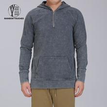 Wholesale blank half zipper acid washed hoodies for men