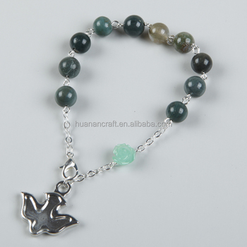 beautiful catholic black stone peace dove rosary bracelet with cross