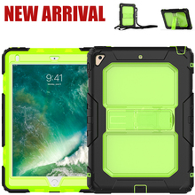 Factory Price 3 Layers Protection Case for iPad 9.7 Case for iPad 5th 2017 Shockproof Case with Neck Strap and Stand