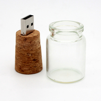 Wholesale 2GB / 4GB / 8GB / 16GB Wooden Glass Drift Bottle USB Flash Drive With Gift Box