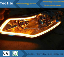 60CM Car Flexible Led Tube Strip DRL Light-Guide Strip White/Yellow Dual Color Led Headlight Tear Strip LED DRL