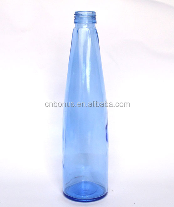 light blue glass water bottle food safe beverage glass bottle