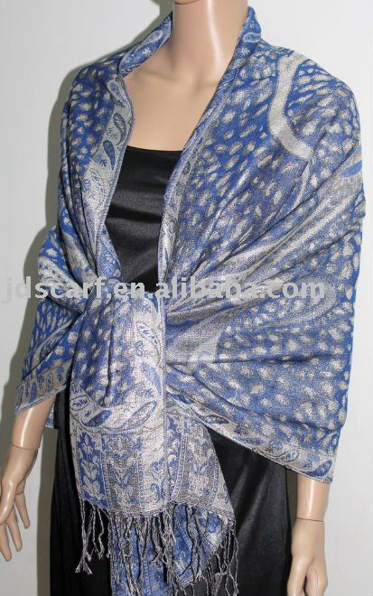 JDP-300_08#: pashmina scarf with leopard and paisley pattern