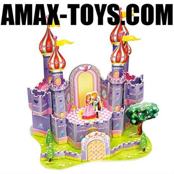 3dp-035589-H Kids 3D paper model(purple castle)