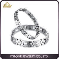 KSTONE Fashion Jewelry 316L Couple Crystal footprint magnet couple bracelet