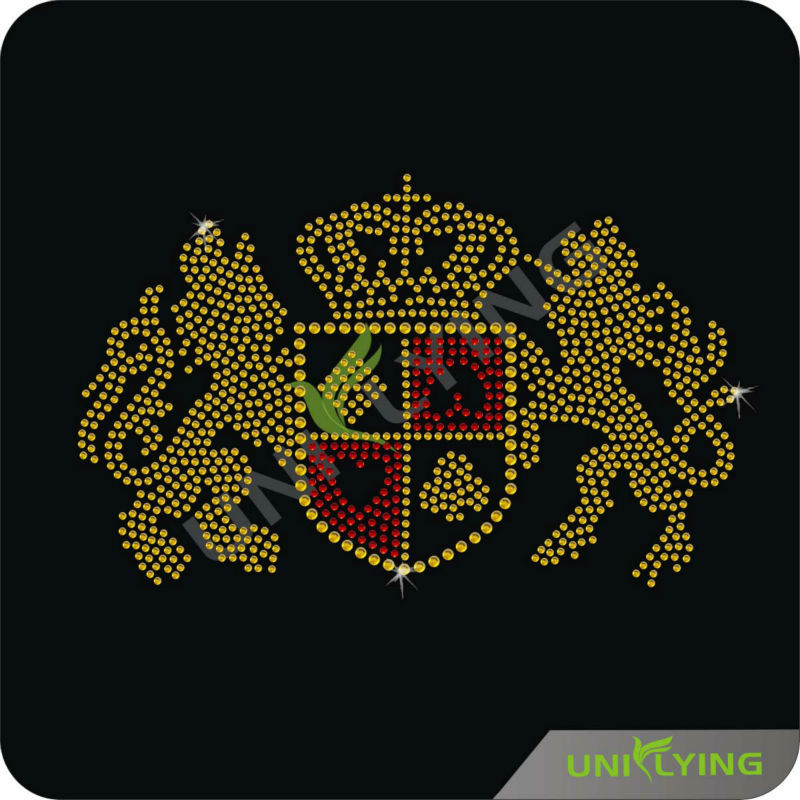 2013 Hotsale Qualified Free Custom Iron On Rhinestone Coat of Arms Transfer