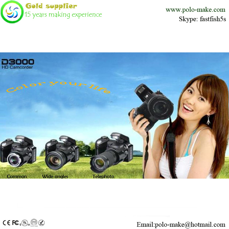 Polo-make genuine 16 MP CMOS Digital Camera with 16x Zoom Lens and Full 1080p HD Video black