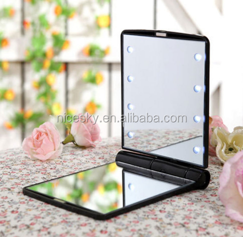 Beauty Cosmetic Folding Portable Make Up Mirror Two-Sided with 8 LED Light