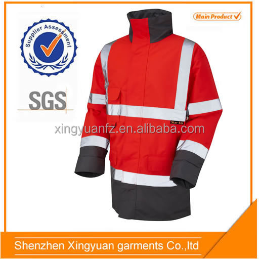 Star SG Men's 100% polyester 300D oxford 3m reflective safety red jacket